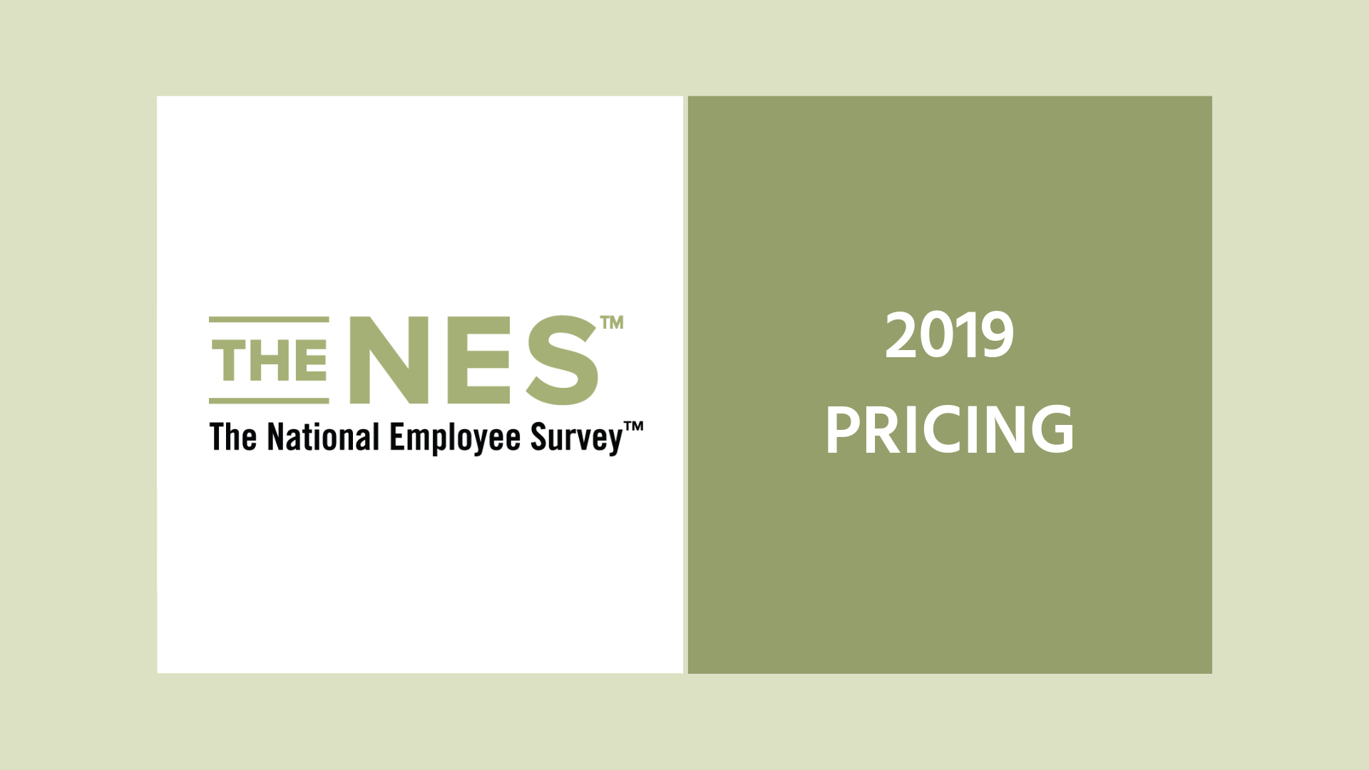 2019 Pricing for The National Employee Survey